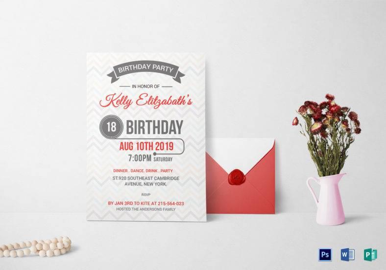 retro birthday party invitation card template 788x552