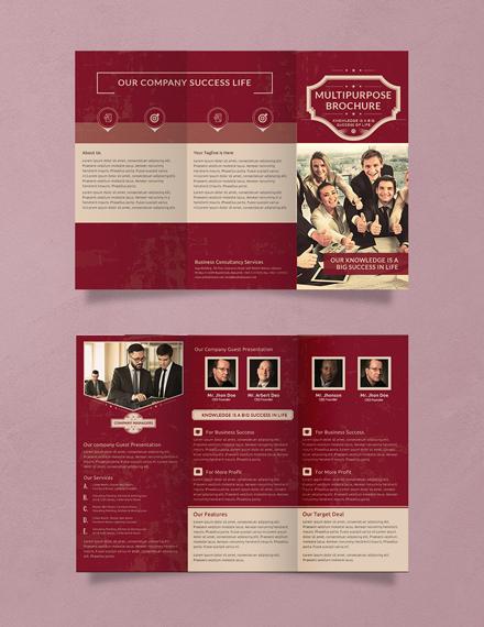 retro multipurpose trifold brochure design