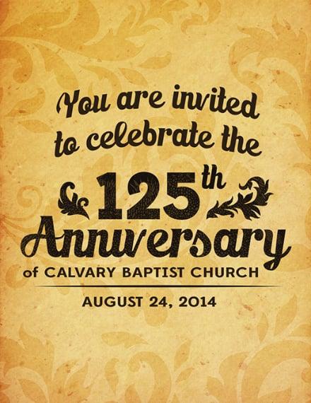Rustic Church Anniversary Invitation Format