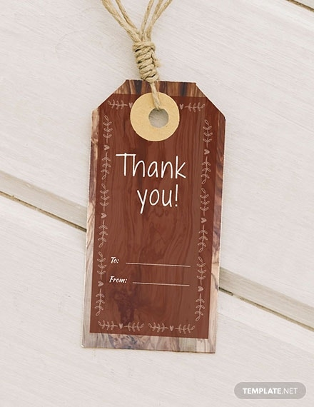 rustic thank you tag template in psd