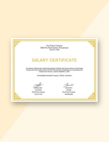 salary certificate from employer template