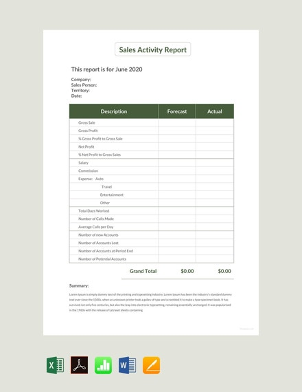 sales activity report sample