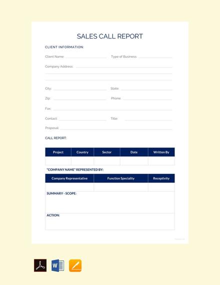 Sales Call Report Sample