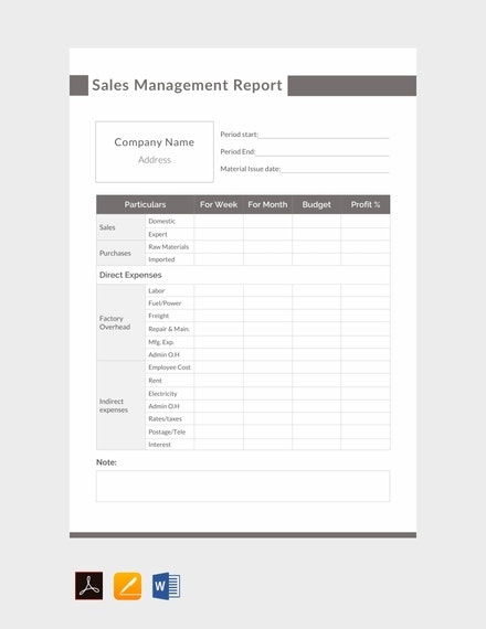 sales management report example