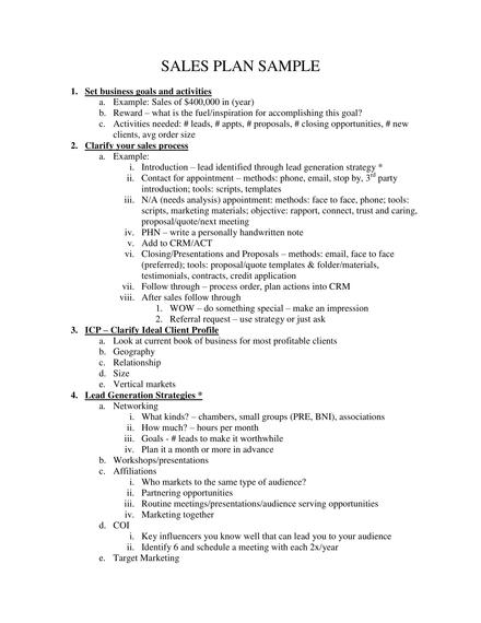 sales plan outline sample