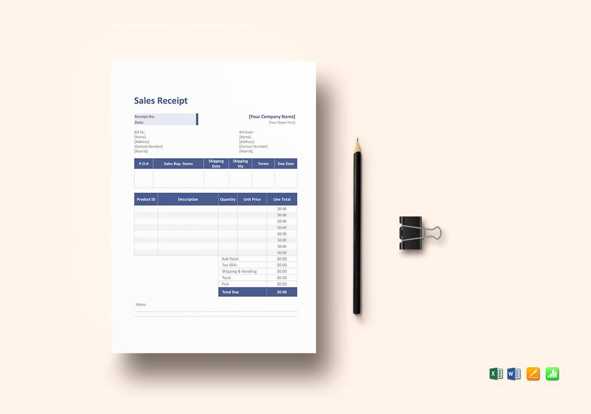 sales service receipt template