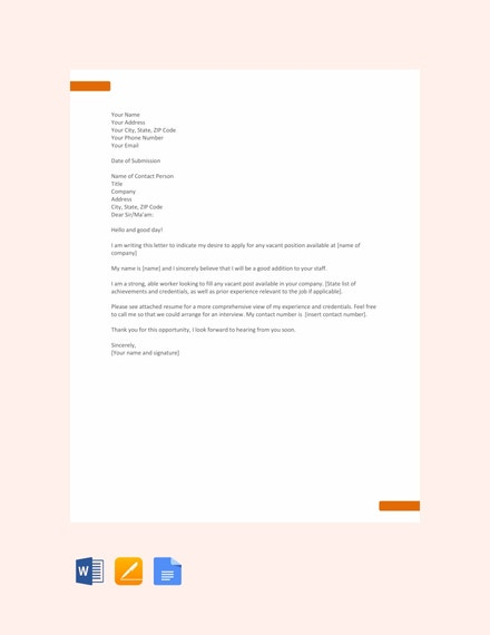 sample application letter for any position