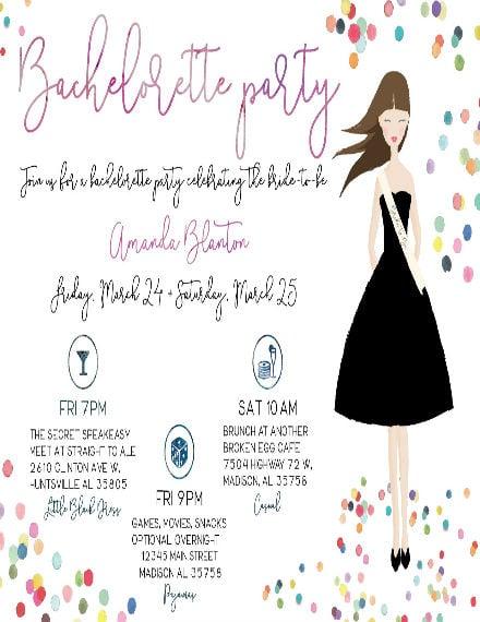 sample bachelorette party invitation