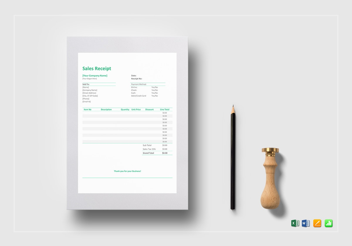 sample blank sales receipt template