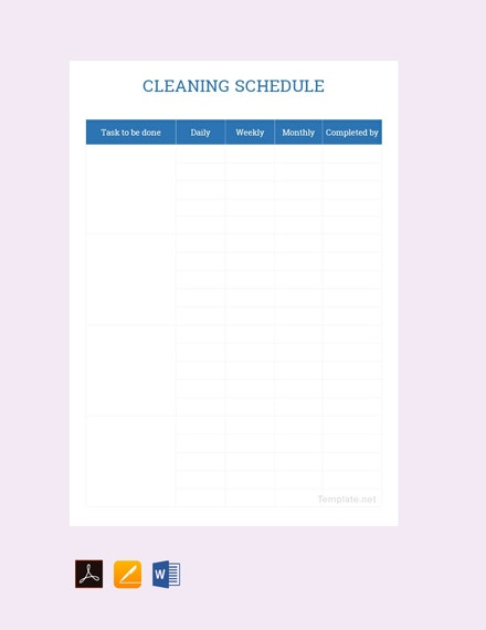 sample cleaning schedule template1