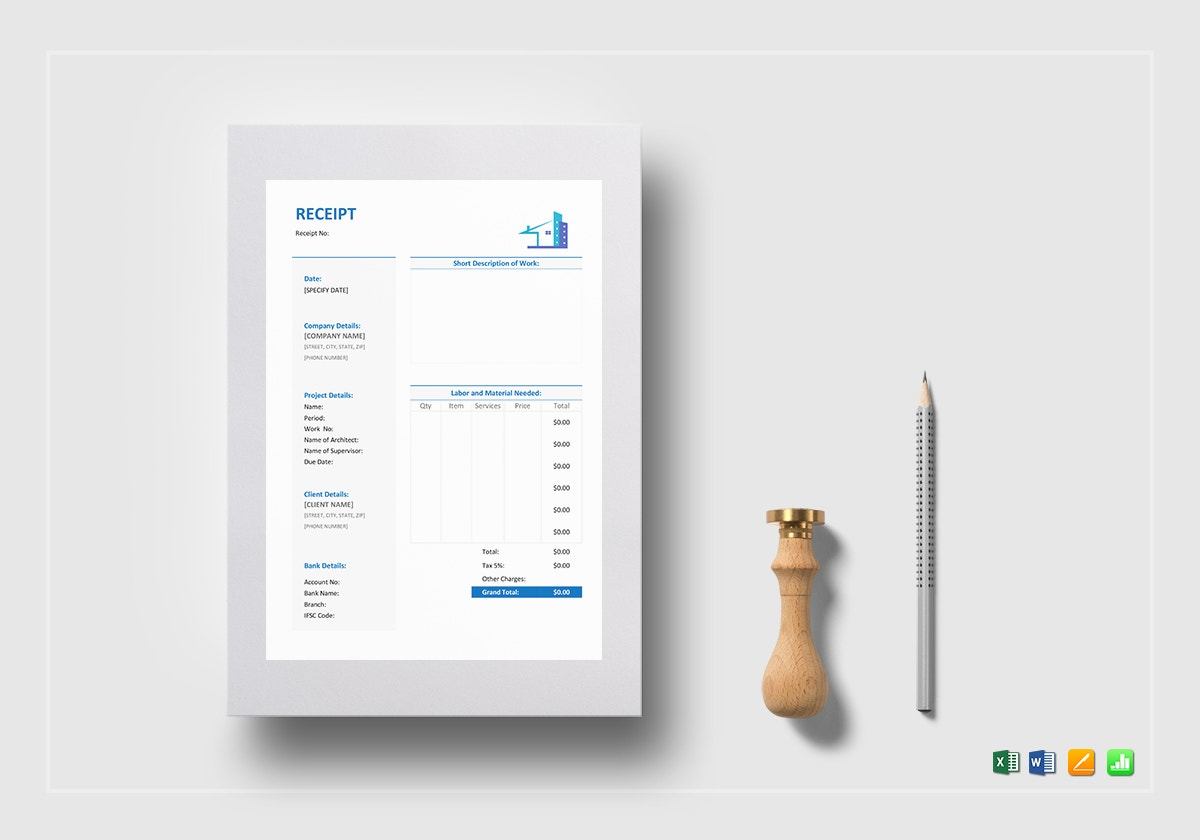 sample construction receipt template mockup