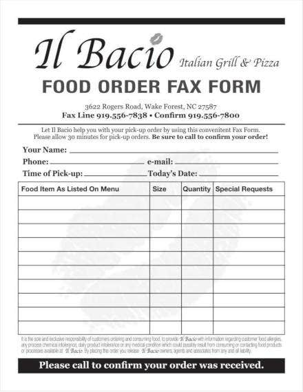 sample food order form