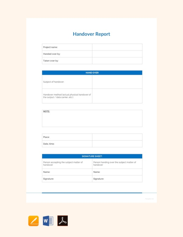 sample handover report template