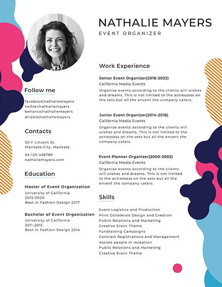 sample photo resume template