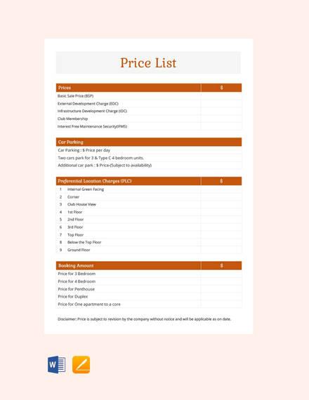 sample-price-list-template