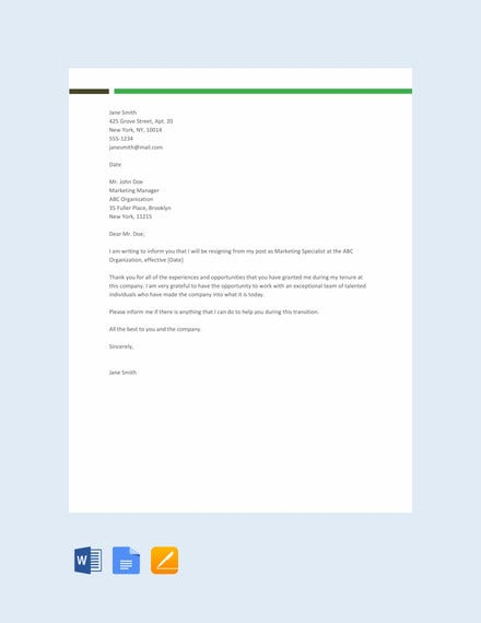 sample resignation letter template1