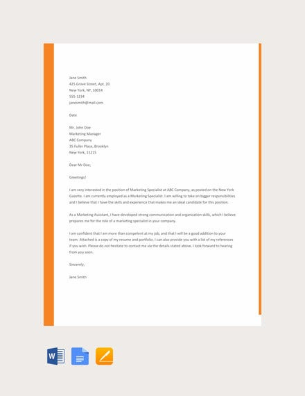 sample resume cover letter template