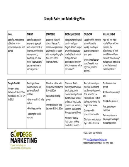 sample sales and marketing plan