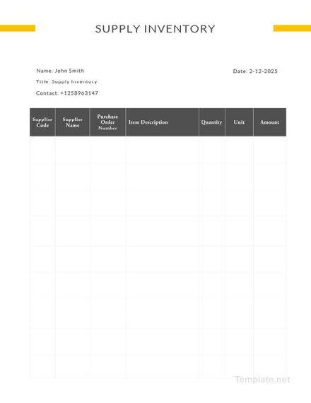 sample supply inventory template