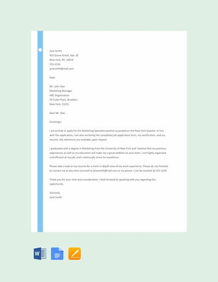 sample of application letter template