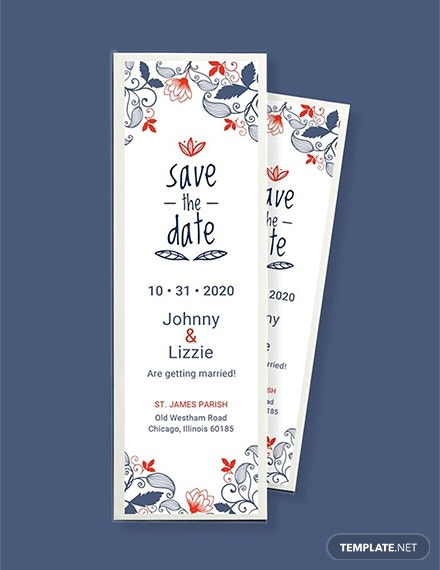save the date bookmark template in psd