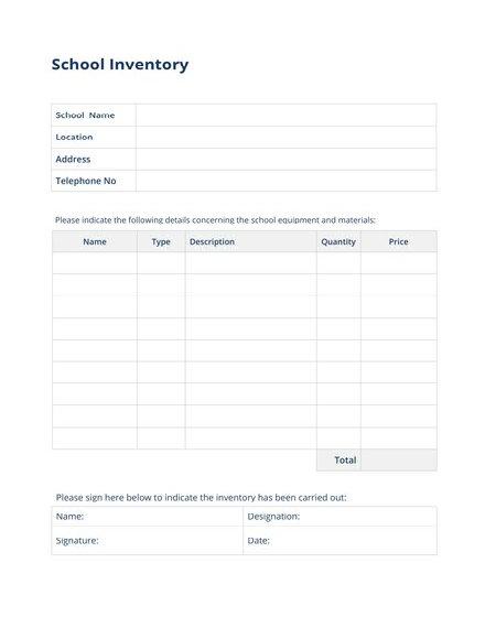 school inventory template