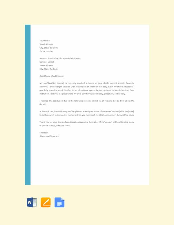 school letter of intent
