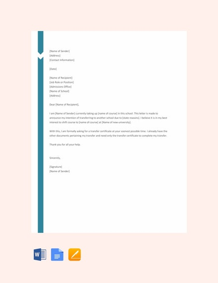 school transfer request letter template