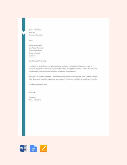 school transfer request letter template1
