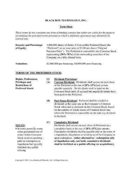school of business term sheet sample