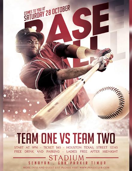 sepia baseball match flyer sample