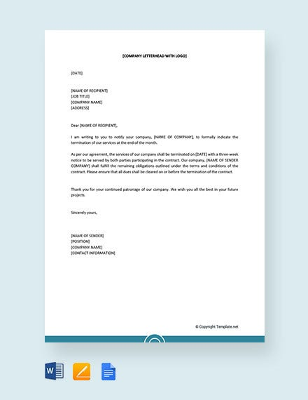 service termination letter to customer