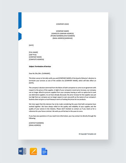 service termination letter to vendor