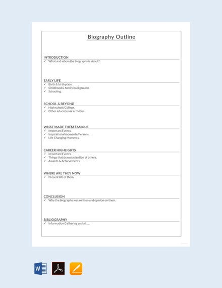 short biography outline template