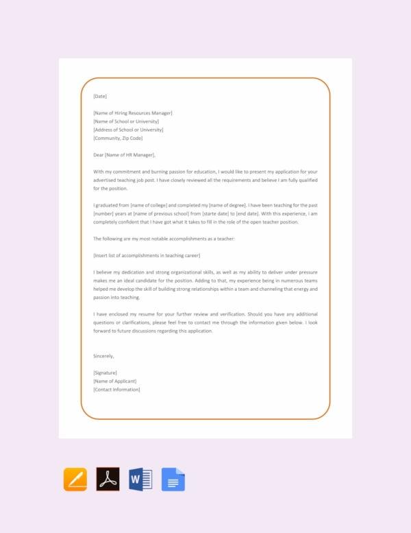 simple application letter for teacher job