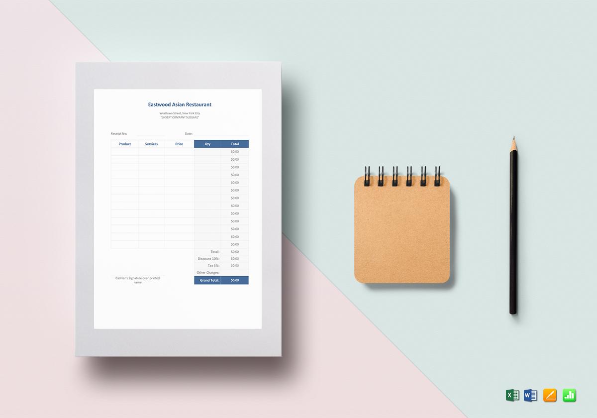 simple blank restaurant bill receipt template
