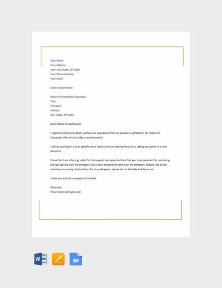 simple career change resignation letter