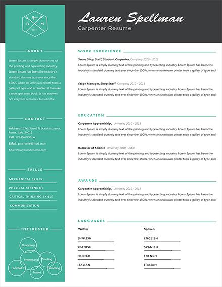 simple carpenter resume template