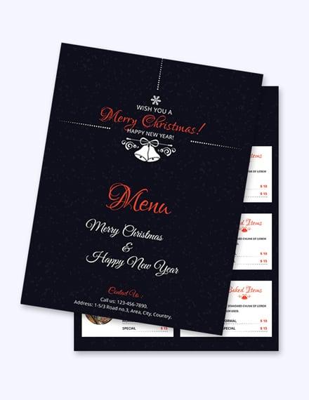 simple christmas menu card template