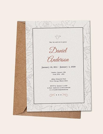 Simple Funeral Invitation Template Sample