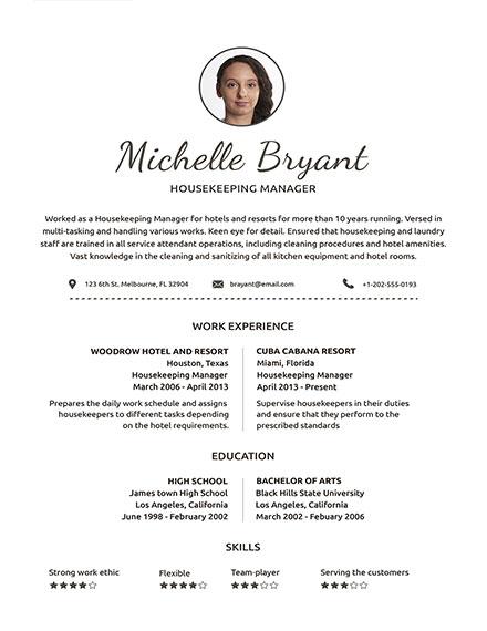 simple housekeeping resume template