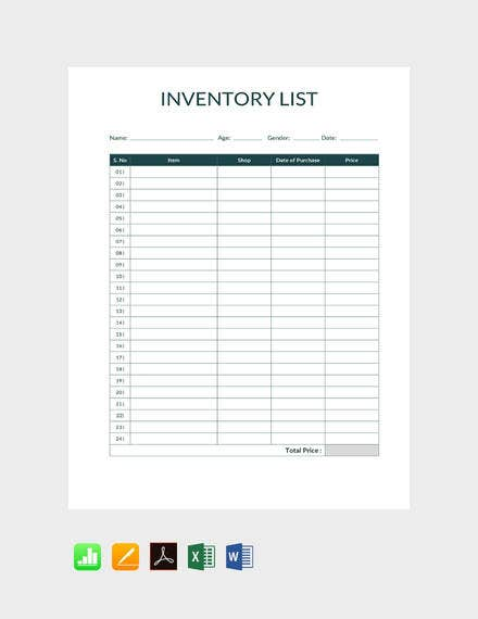 9 simple inventory templates free premium templates