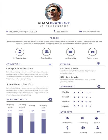 simple junior accountant resume template