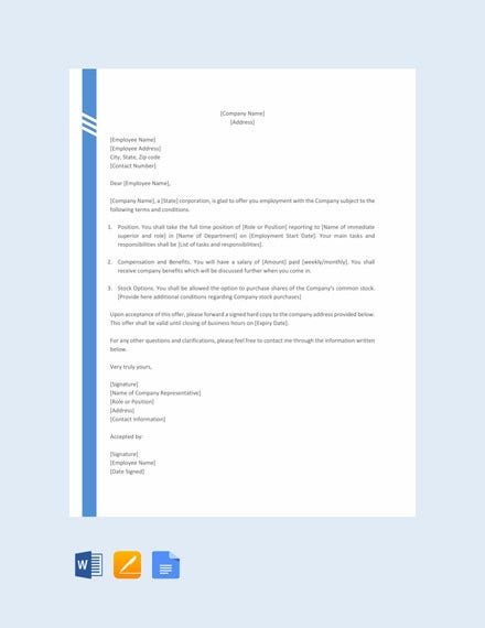 simple offer letter format for corporation