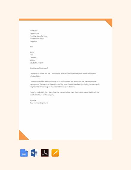 simple resignation letter1