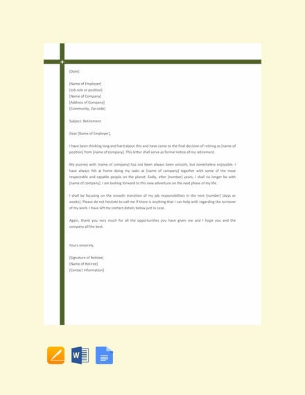 simple retirement letter template1
