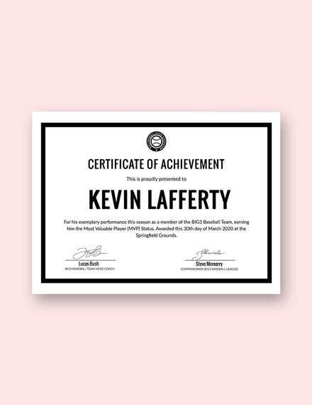 simple sports achievement certificate template