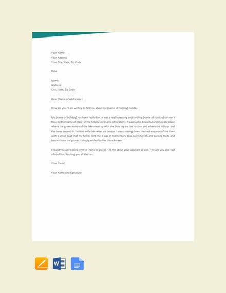 simple vacation letter template