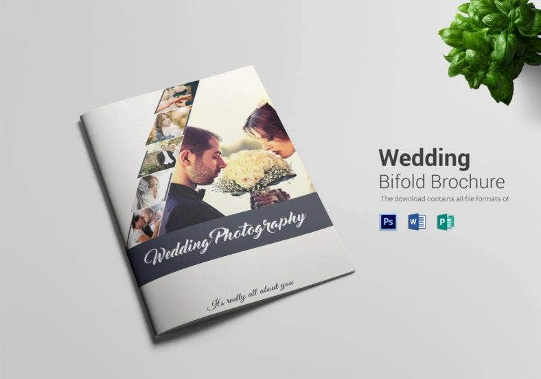 simple wedding photography bi fold brochure  788x552