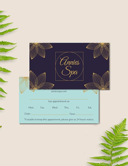 spa appointment card template
